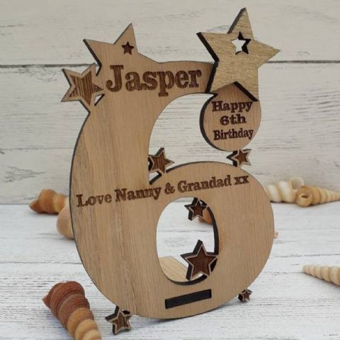 Personalised Sixth 6th Birthday Card Oak Wooden Keepsake Gift